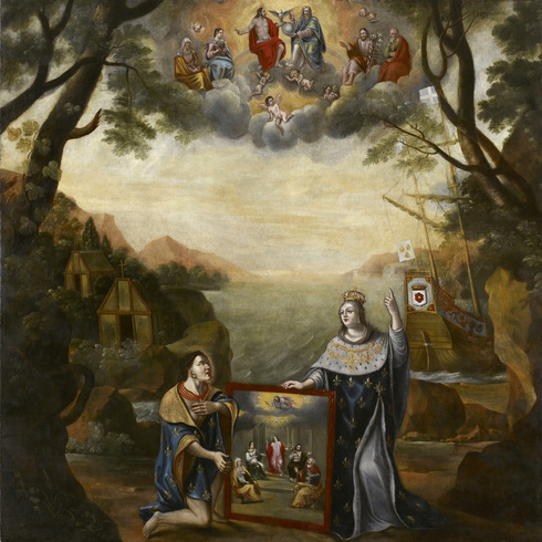 Painting of New France. Forest, mountains and ship. The queen give a painting to a man on his knees. In the sky, Saints are watching.