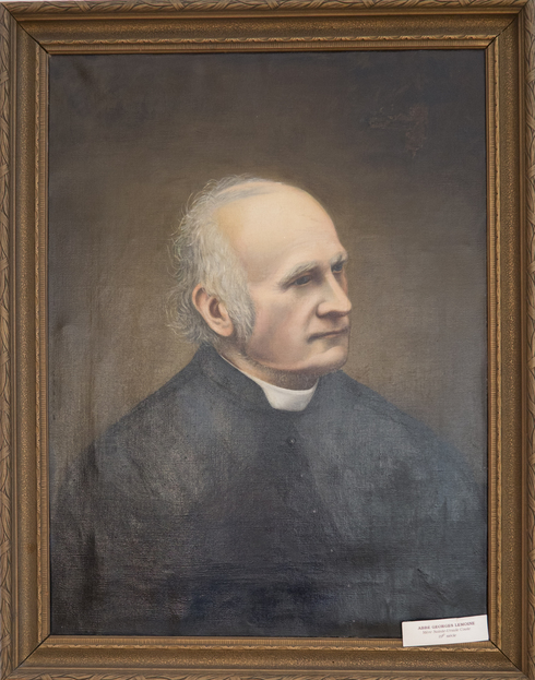 Painted portrait of Abbot Lemoine. Looking to the right, grey hairs, sparse top. Grey eyebrows, lost in thought.
